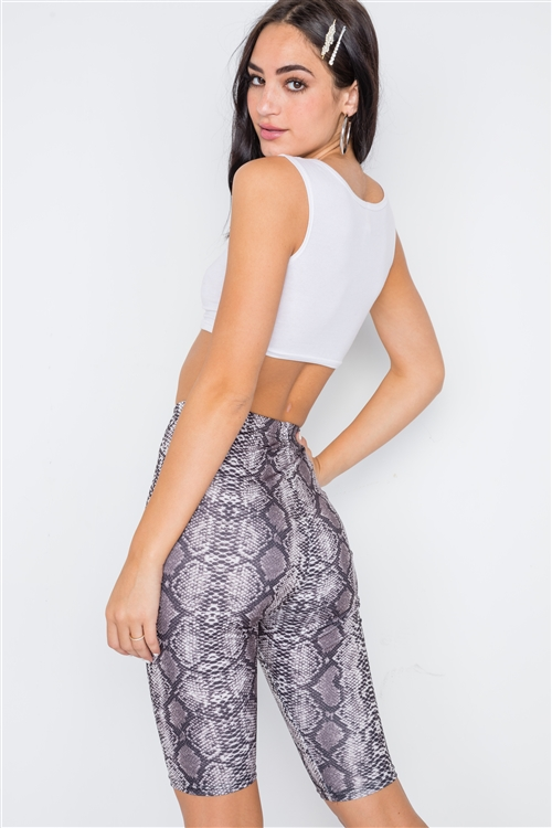 Black Sneak Print High-Waist Biker Shorts