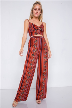 Rust Multi Boho Print Cut Out Crop Top & Chic High Waist Wide Leg Pant Set