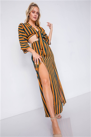 Green Mustard Multi Stripe Crop Top & Maxi Slit Skirt Set