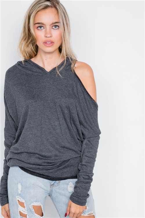 Charcoal Relaxed Fit Drop Shoulder Cut-Out Pull-Over