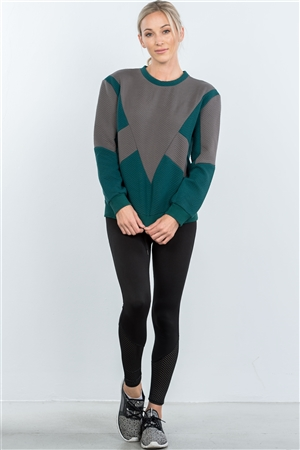 Teal Chevron Texture Pattern Sweater