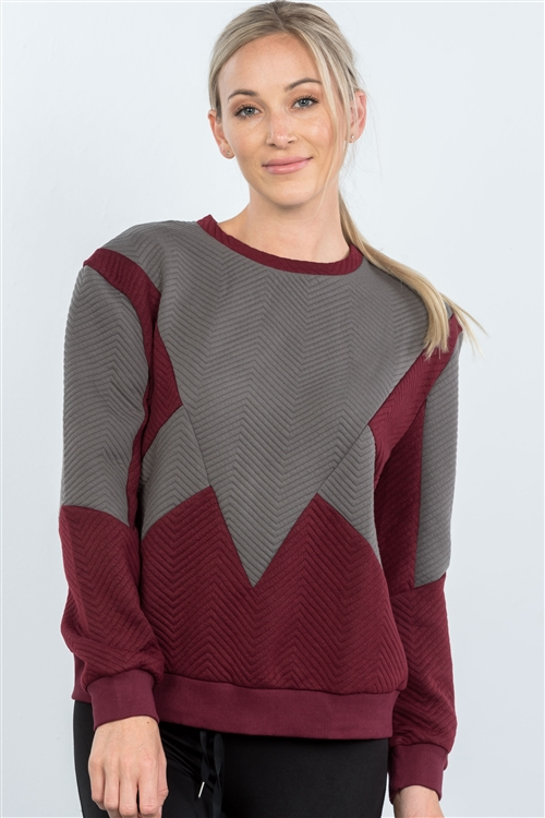 Wine Chevron Texture Pattern Sweater