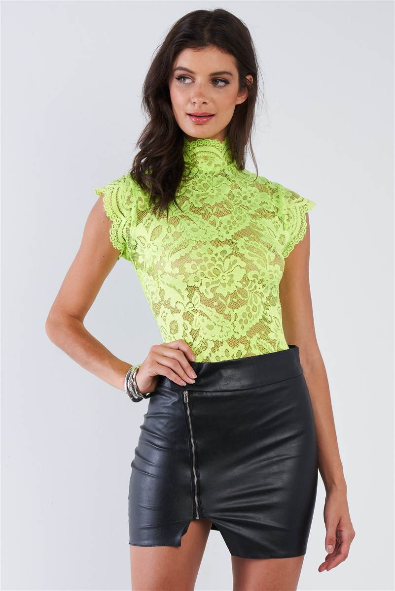 Neon Green Lace Collared Short Sleeve Corset Back Sexy Bodysuit