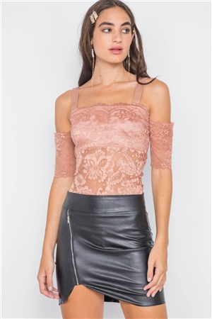 Taupe Cami Off-The-Shoulder Floral Lace Bodysuit