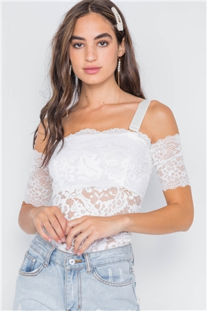 White Cami Off-The-Shoulder Floral Lace Bodysuit