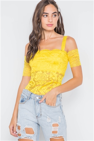 Neon Yellow Cami Off-The-Shoulder Floral Lace Bodysuit