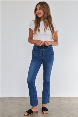 High Waisted Blue Denim Lace Up Fly Zipper Pocket Bell Bottom Jeans