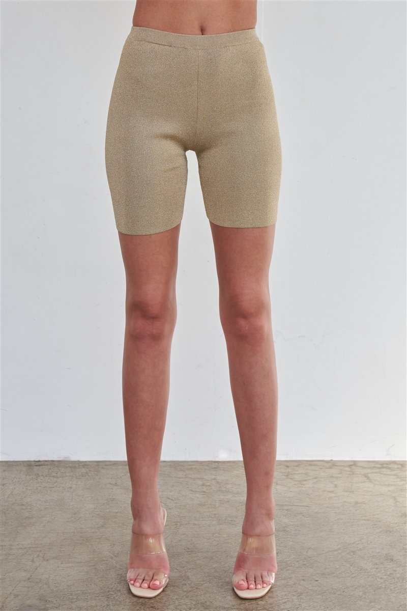 Sexy Sparkly Metallic Gold Biker Short