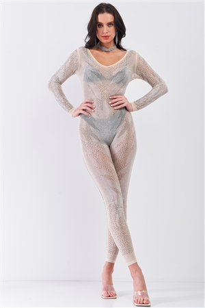 Nude Rhinestone Embroidery Sheer Mesh Long Sleeve Bodycon Jumpsuit