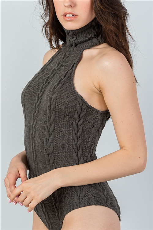 Hunter Green Cable Knit Turtleneck Sleeveless Bodysuit