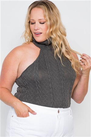 Plus Size Hunter Green Cable Knit Turtleneck Sleeveless Bodysuit