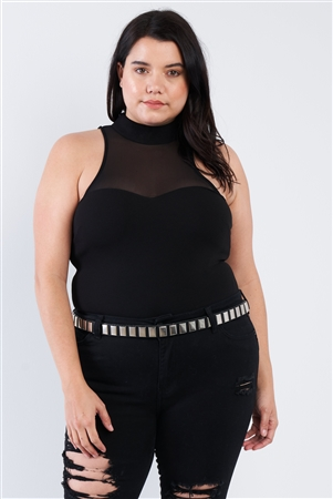 Plus Size Black Mock Turtleneck Bodysuit