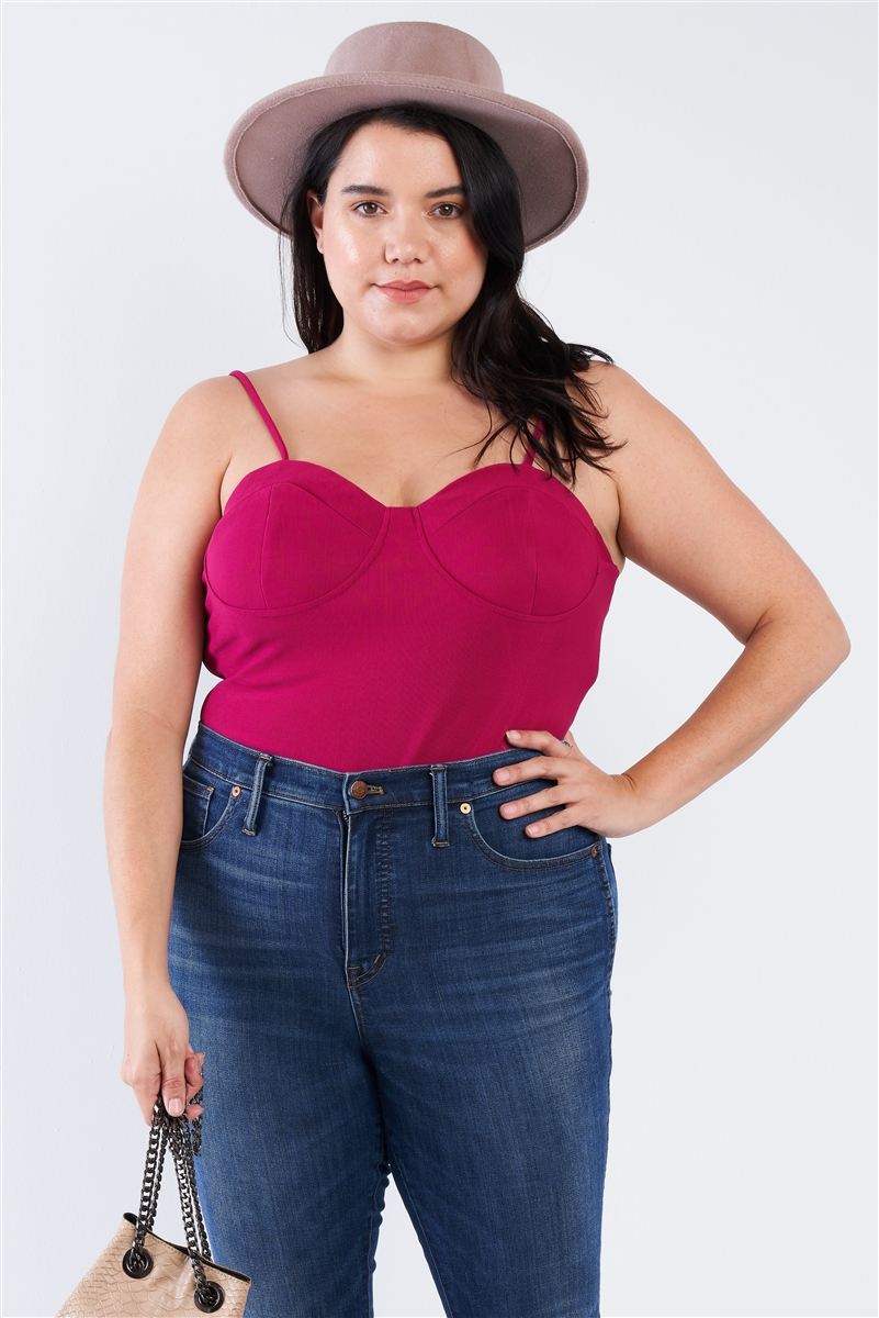 Junior Plus Size Magenta Cami Strapped Bustier Bodysuit