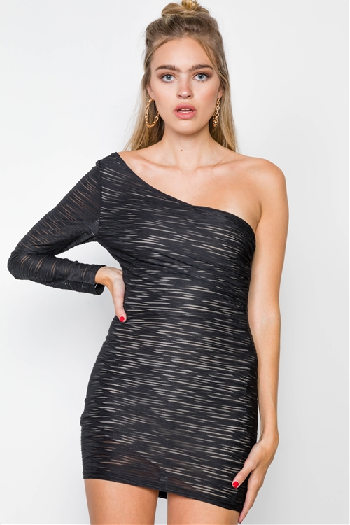 Black Plain Asymmetric Shoulder Long Sleeve Mini Dress