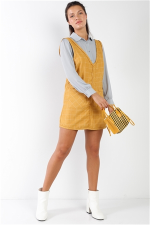 Mustard Pinstripe Plaid V-Neck Raw Hem Mini Dress