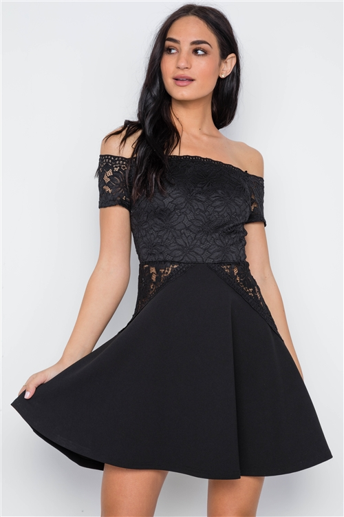 Black Floral Lace Off Shoulder Fit & Flare Mini Dress