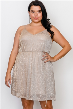 Plus Size Gold Spaghetti Self-Tie Waist Mini Dress