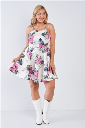 Junior Plus Size Off-White Tropical Print Square Neckline Strappy Open Back Flare Mini Dress