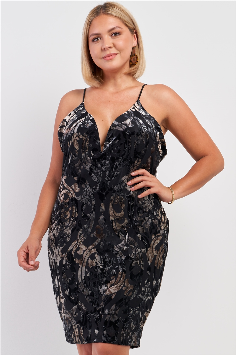 Junior Plus Black Royal Printed Velvet Gradient Halter Tie V-Neck Open Back Fitted Mini Dress /2-2-2