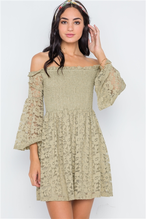 Boho Sage Floral Lace Off-the-Shoulder Mini Dress