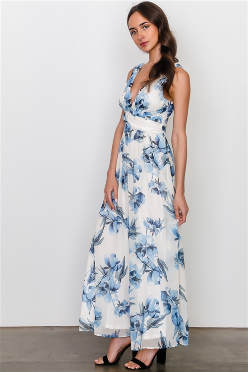 White Blue Flower Sleeveless Maxi Dress