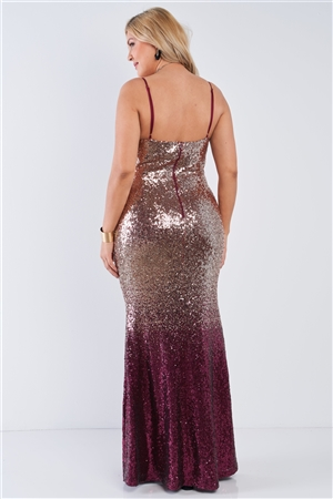 Junior Plus Size Multi Color Sequin Ombre V-Neck Gown