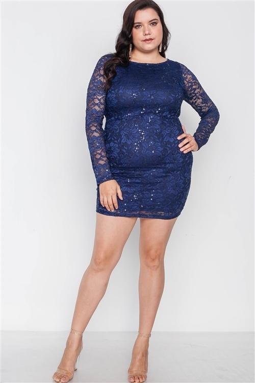 Plus Size Navy Lace Open Back Bodycon Mini Dress