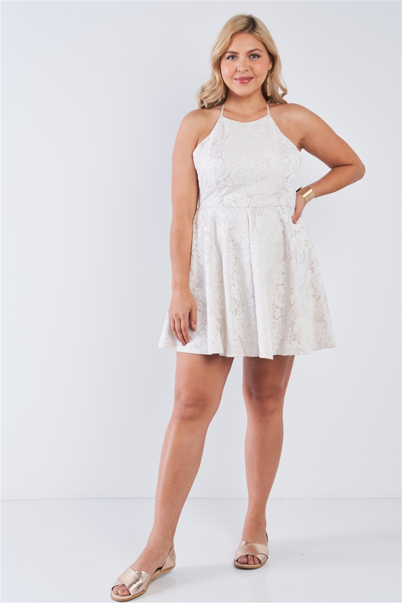 Junior Plus Size Off-White Floral Lace Square Neckline Criss Cross Open Back Flare Mini Dress