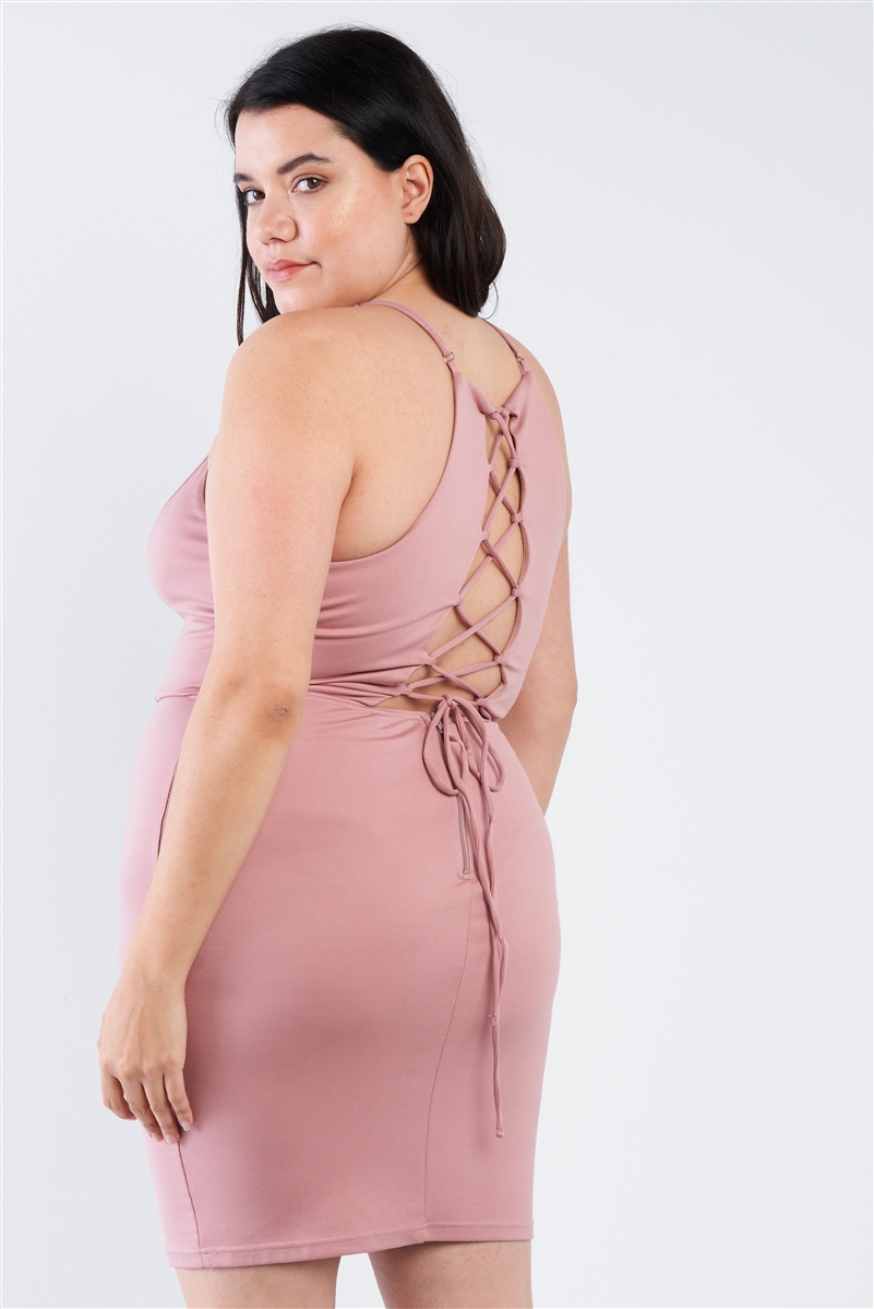 Plus Size Mauve V-Neck Open Back Lace Up Mini Dress