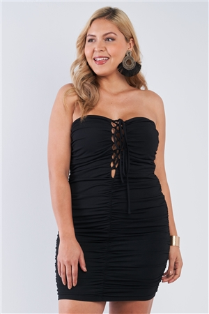 Junior Plus Size Strapless Mini Black Scrunch Dress