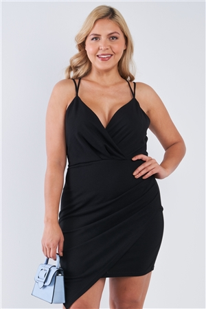 Junior Plus Size Tie Back Black Wrap Dress