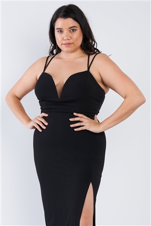 Sexy Black Floor Length Plus Size Dress