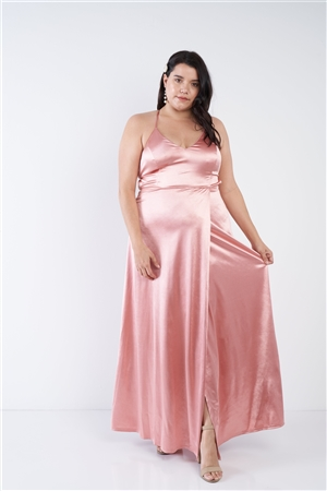 Plus Size Mauve Satin Open Criss Cross Back Maxi Dress