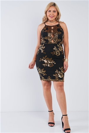Junior Plus Size Black Gold Sequin Criss Cross Open Black Dress