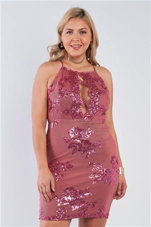 Junior Plus Size Marsala Sequin Criss Cross Open Black Dress