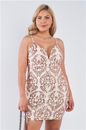 Junior Plus Size Champagne Open Back V-Neck Sequin Bodycon Mini Dress