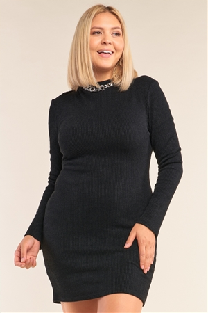 Junior Plus Size Black Long Sleeve Ribbed Knit Sexy Cut Out Back Mini Dress /2-2-2