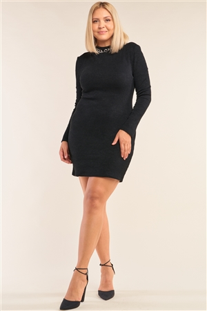 Junior Plus Size Black Long Sleeve Ribbed Knit Sexy Cut Out Back Mini Dress /3-2-2