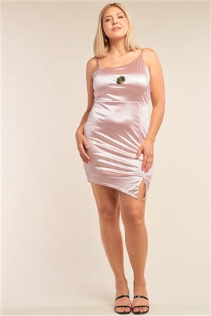 Junior Plus Size Blush Pink Satin Asymmetrical Sleeveless Fitted Side Slit Detail Cocktail Mini Dress /2-2-2