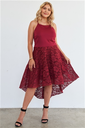 Junior Plus Size Cabernet Square Neckline Hi-Low Floral Lace Maxi Dress