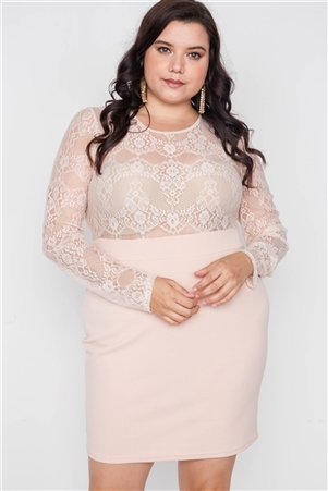 Plus Size Blush Combo Lace Long Sleeve Dress