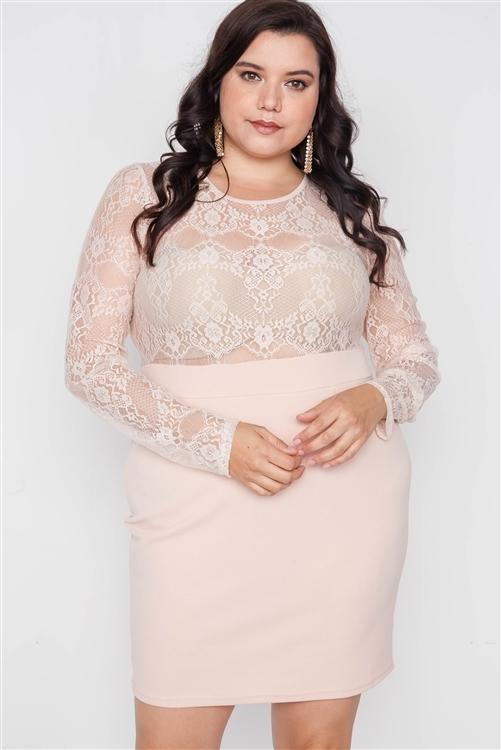 Plus Size Blush Combo Lace Long Sleeve Dress /2-2-2