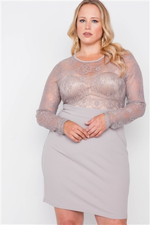 Plus Size Smoke Grey Combo Lace Long Sleeve Dress