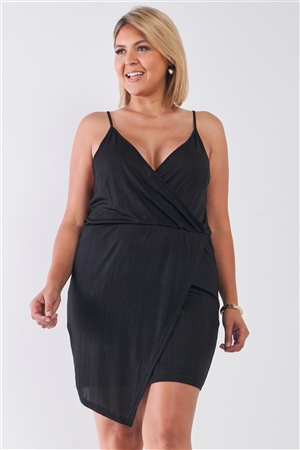 Plus Size Black Surplice Neckline Cami Mini Dress
