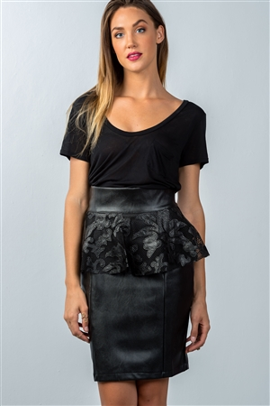 Black High Waisted Peplum Knee Length Pencil Skirt