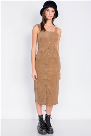 Camel Ribbed Suede Front Button Casual Midi Dress