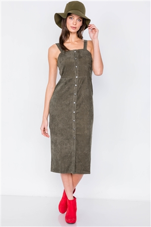Olive Ribbed Suede Front Button Casual Midi Dress