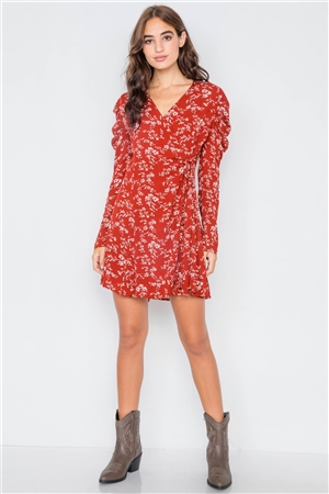 Sheer Red Floral Cinched Ruffle Shoulder Mini Dress