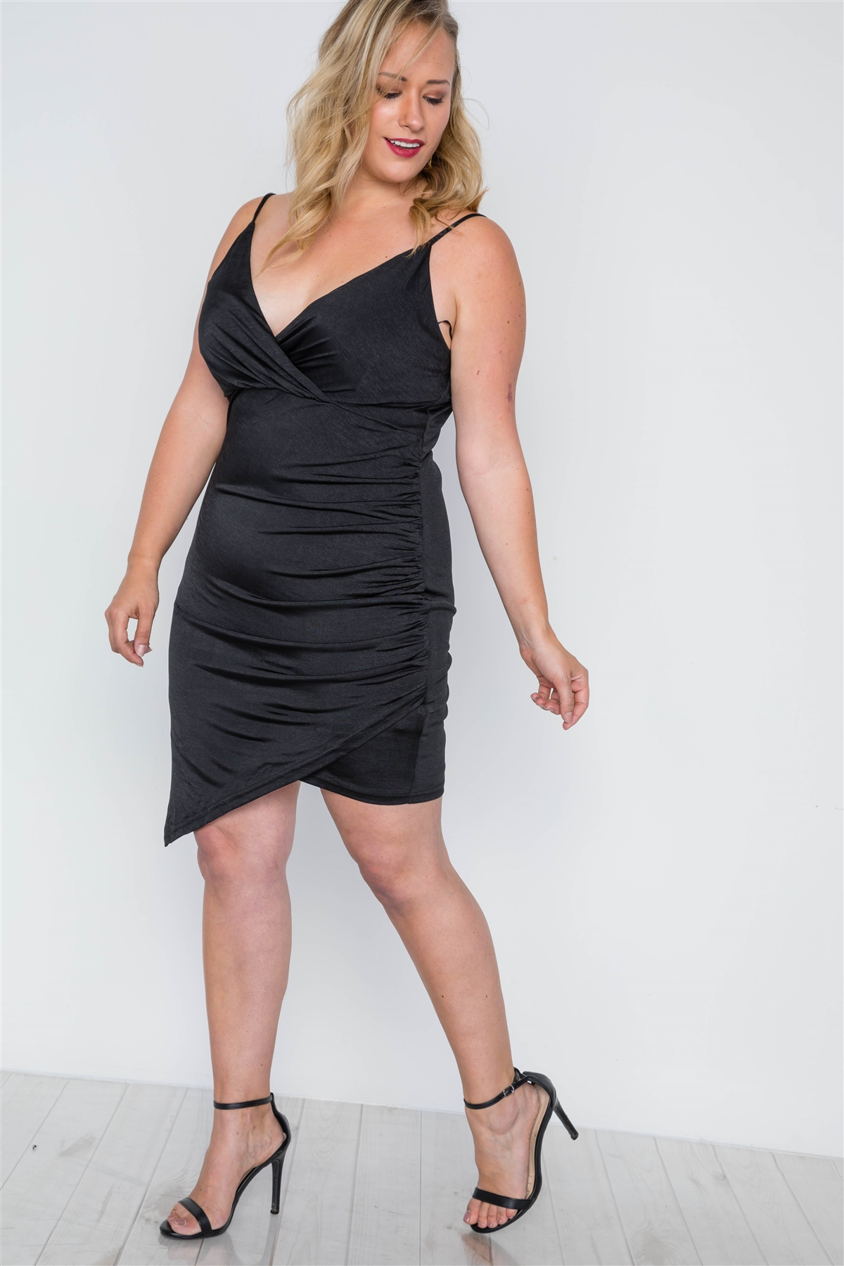 Plus Size Black Cami Surplice Bodycon Mini Dress /2-2-2