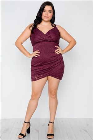 Plus Size Plum Floral Lace Cami Bodycon Dress